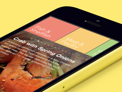 Recipes App colorful recipes app yellow crab food ios