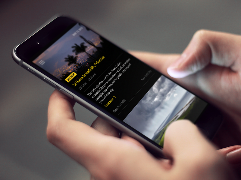 Travel App view feed article yellow black travel