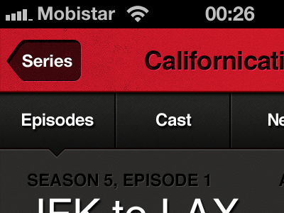 Episode Info iphone red top bar submenu