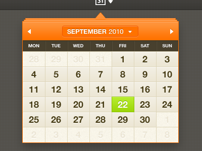 Calendar calendar orange dropdown