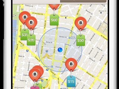 Earn! map pin tabs orange