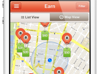 Earn! map pin tabs orange