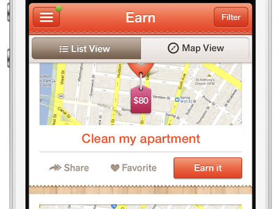 Earn List View map pin tabs orange list view