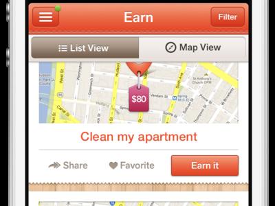 Earn List View map pin tabs orange list view
