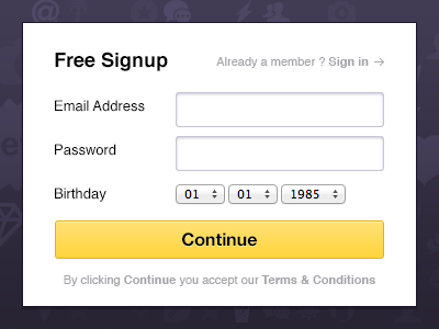 Free Signup! free signup register form yellow button