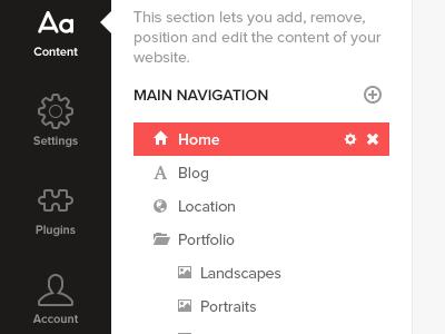 Sidebar Navigation sidebar navigation red black white
