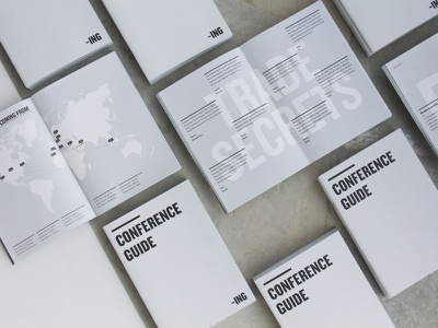 ING Conference Guide Book design editorial photography grey book typography layout