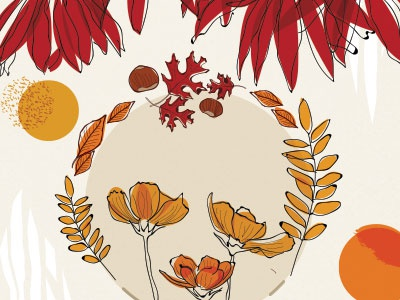 Autumn colours floral illustrator line surfacedesign pattern