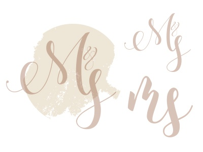 WIP of a Wedding logo watercolour script wedding logo