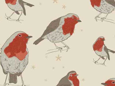 Christmas pattern in the makes freewrappingpaper freegiftwrap freechristmaspaper free robin bird birds christmas illustrator line surfacedesign pattern