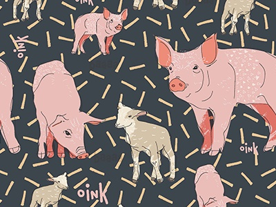 Farm animals pattern play sheep pigs illustrator line surfacedesign pattern