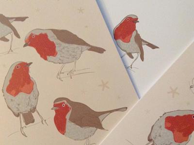 Printed Christmas Card christmascard greetingcards print robins christmas