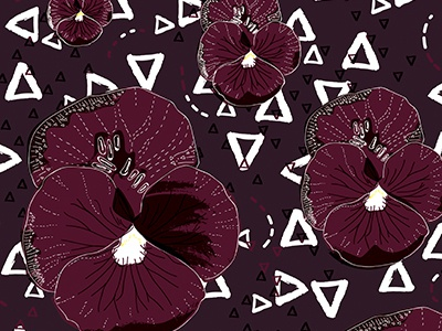 Tribal Botanicals floral illustrator line surfacedesign pattern