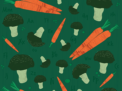Broccoli carrot collection vegtables illustrator line surfacedesign pattern