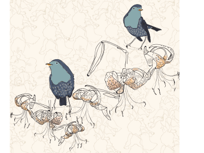 Tiger Lily birds wip flowers tigerlily bird illustrator line surfacedesign pattern