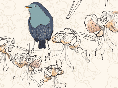 WIP close up wip flowers tigerlily bird illustrator line surfacedesign pattern