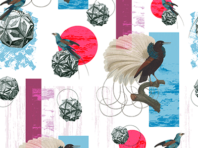Strange pattern play collage wip bird illustrator line surfacedesign pattern