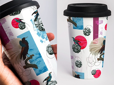 Coffeeeeee Mock Up collage wip bird illustrator line surfacedesign pattern