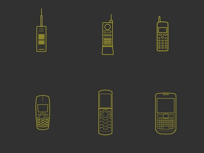 Telephone Icons line icons graphics graphic design illustrator