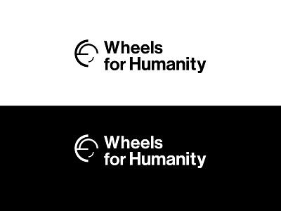 Wheels For Humanity Logo B W neue haas grotesk display std san-serif font motion circle ngo concepts logo modern fresh