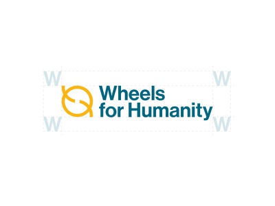 Final Logo - Wheels for Humanity logo mark non-profit teal yellow typography brands branding