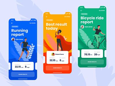 Activity tracking app tracking app ios ios app sport app clean minimal illustrations colorful mobile app design app