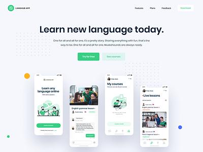 Learn Language App Website minimal web design ui flat ux web hero landing website design