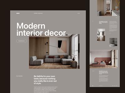 Interior Landing page website ui web design flat ux interior landingpage webdesign web minimal clean design