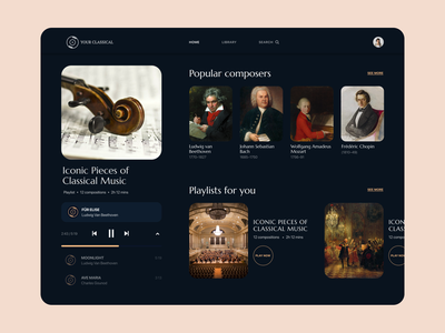 """""""Your classical"""" - Music player UI design web design ui ux web clean minimal flat music player ui player ui uiux music player player website design"""