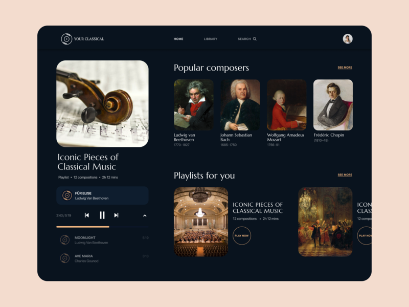 """Your classical"" - Music player UI design web design ui ux web clean minimal flat music player ui player ui uiux music player player website design"