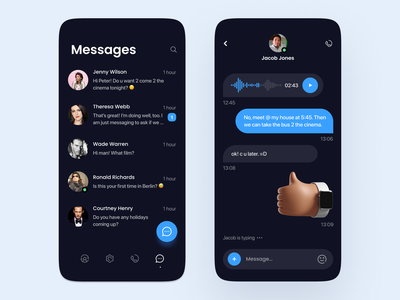 Messanger chat UI - Dark minimalistic mobile ui design mobile app dark clean design minimal ux ui mobile uiux chat chat ui mobile ui
