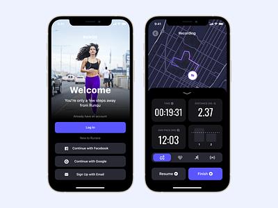 Fitness App - Running Tracker ios app runners tracker sport workout exercice ios run fitness ux ui mobile mobile app app design running tracker fitness app