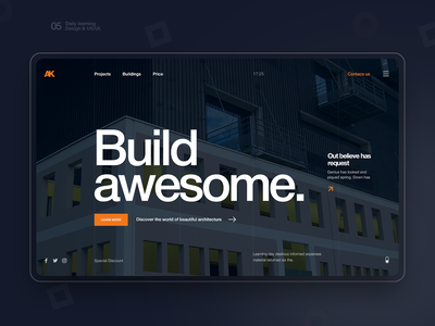 Build awesome building building company website building company build flat ux website landing web hero design