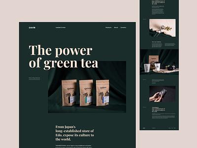 The power of green tea landing page minimal clean web design website design
