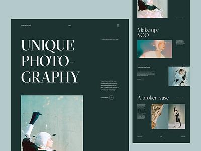 UNIQUE PHOTOGRAPHY clean minimal web design landing hero website design
