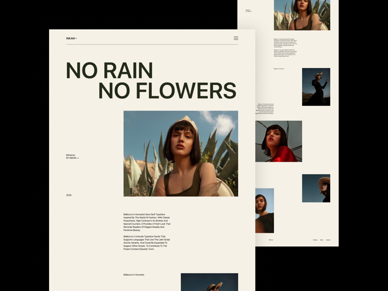 NO RAIN NO FLOWERS minimal clean web design design website