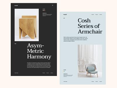 MADE furniture design furniture clean minimal web design landing website design