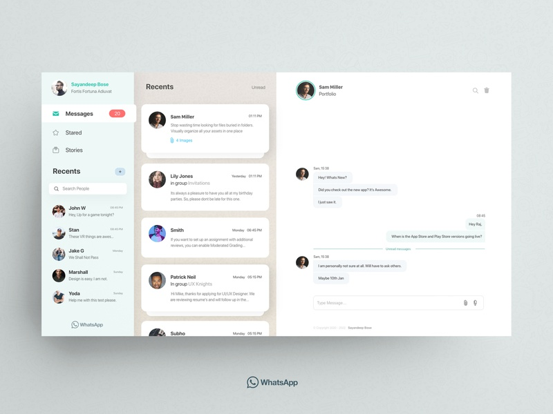 Whatsapp Redesign Day 2