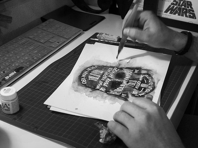 STAR WARS – Watercolor Letering process prints typography calligraphy black brush darthvader watercolor lettering starwars