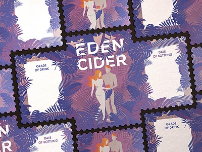 Eden Cider lable cider eden adam eva logo illustration tree