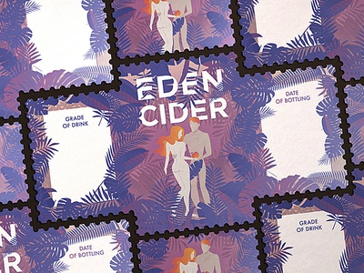 Eden Cider lable cider eden adam eva logo illustration tree