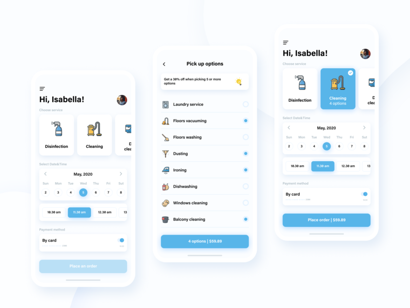 Home service App • Concept iPhone X sketch desinfection covid19 home home services home service blue white android ios branding flat web illustration typography app ux ui design figma