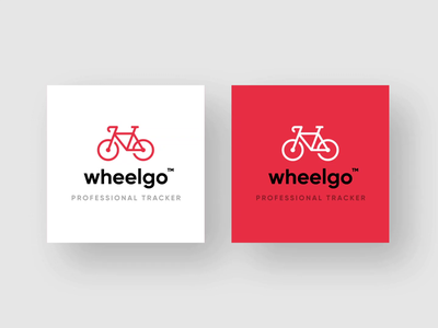 WheelGo - Bicycle App Logo ios android apple wheel bicycle white red aftereffects minimal icon logo illustration vector typography ui flat figma design