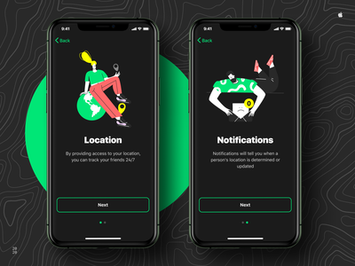 FindUs - Geolocation App aftereffects landing animation vector app typography ios flat ui ux figma design