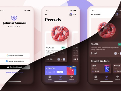 Bakery - iOS App Concept sketch ui app cards android ios chocolate white pink bakery figma