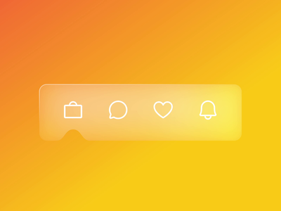 Tab Bar Animation (Glassmorphism Effect) cuberto flat ux app ios icons style white yellow aftereffects glass glassmorphism tabbar ui figma