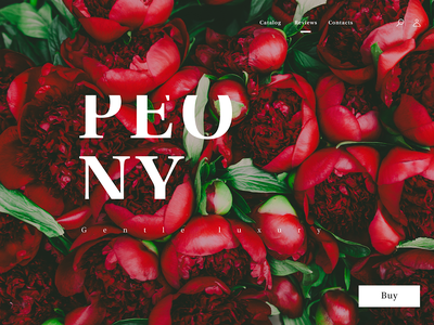 Peony - Home Page white red peony flowers website design web website webdesign flat branding ui figma design