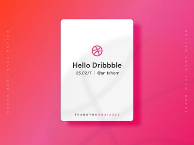 Dribbble Hello gradient firstshot card ui debut dribbble hello