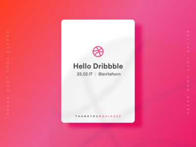 Dribbble Hello gradient firstshot card ui debut dribbble hello