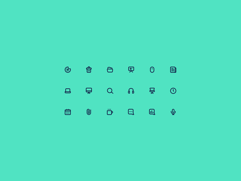 Office icons set outline icon small office icons